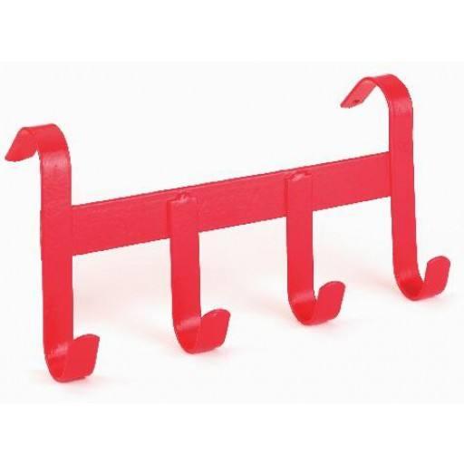 Bridle holder, metal, 4 hooks, Red