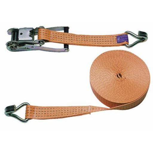 Lashing strap 2 piece set, 1500 x 5 cm orange, 4000 kg