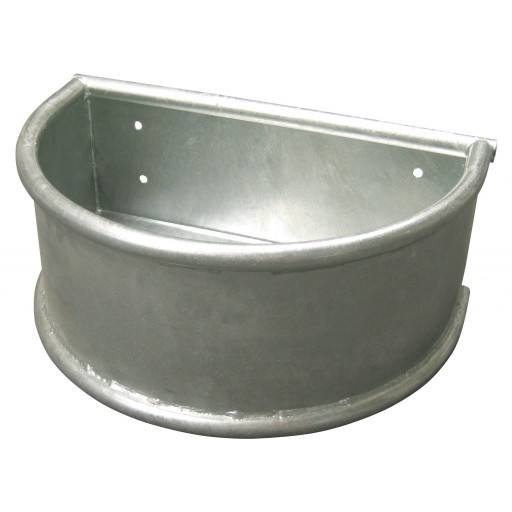 Horse feeding trough round trough, metal with rotating circular pipe