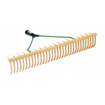 Plastic lawn rake, 32 curved tines and 16 cross tines, 64 cm wide