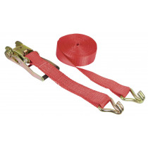 Lashing strap 2-piece, 8 m x 50 mm, 5000 kg, Red