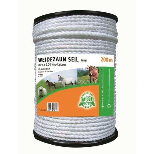 Netsnoer draad 200 m, 6 mm, wit, hoofd van 6 x 0,20 Niro - Göbel