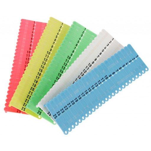 Oor tag Twintak, gevormde, rood, blauw, geel, groen, wit - 50 stuks / Pack
