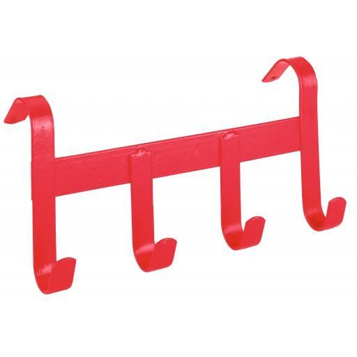 Bridle houder, metaal, 4 haken, Red