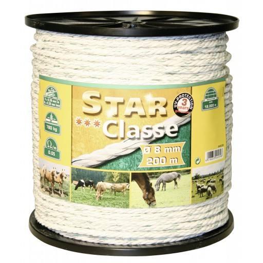 Snoer draad 200 m, 8 mm, wit/groen, hoofd 4 x 0,30 Niro + 4 x 0,30 Ku euro