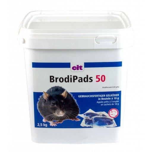 Rattengif BrodiPads Gelpad 2500 g Delen 15 g, Brodifacoum - aasratten muizen