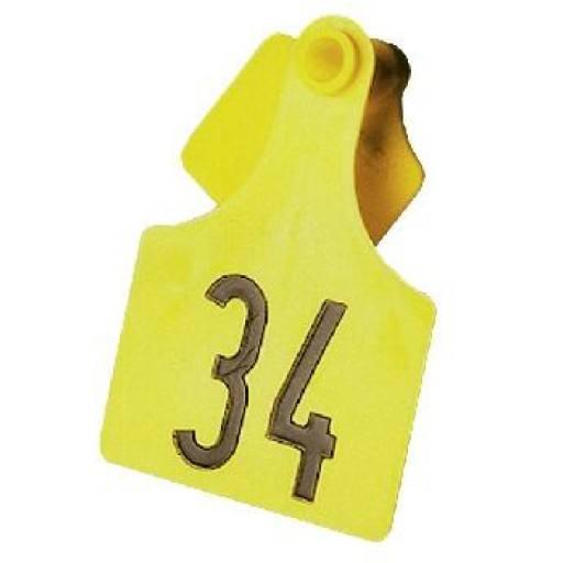 Primaflex oor label grootte 3, gevormd, geel, rood, (25 stuks per verpakking)