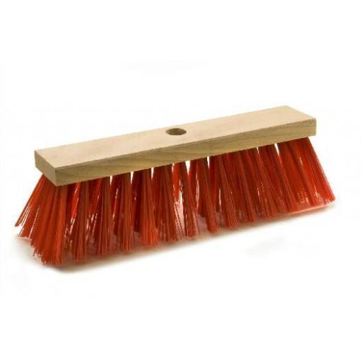 Straatbezem 28 cm, rood, voor Elaston plat hout