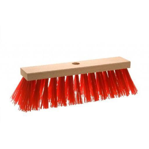 Straatbezem 32 cm, rood, voor Elaston plat hout