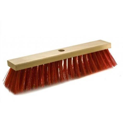 Straatbezem 40 cm, rood, voor Elaston plat hout
