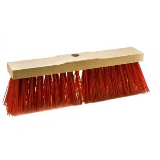 Straatbezem 40 cm, rood, voor Elaston zadel hout