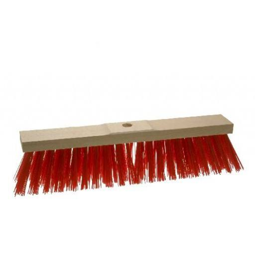 Straatbezem 50 cm, rood, voor Elaston zadel hout