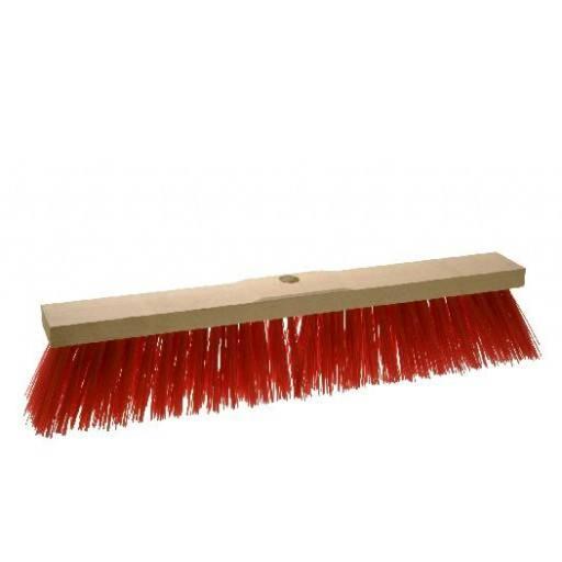Straatbezem 60 cm, rood, voor Elaston zadel hout