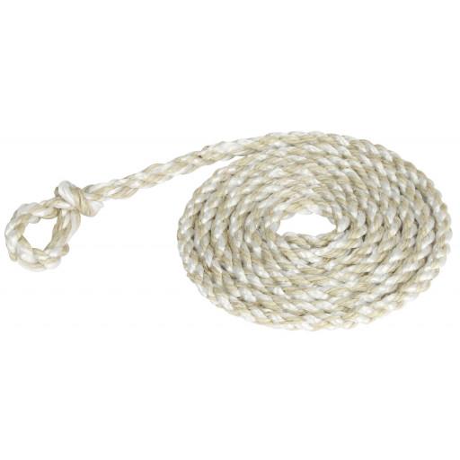 Poly touw 2,40 m, kleine lus, wit