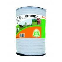 Weide afrastering tape 200 m lang en 2 cm breed, kleur wit, hoofd 4 x 0,20 + 2 x 0.30 mm Niro