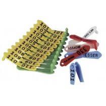 Oormerk duo geel, rood, blauw, groen, wit, gemarkeerde - 25 Stück / Pack