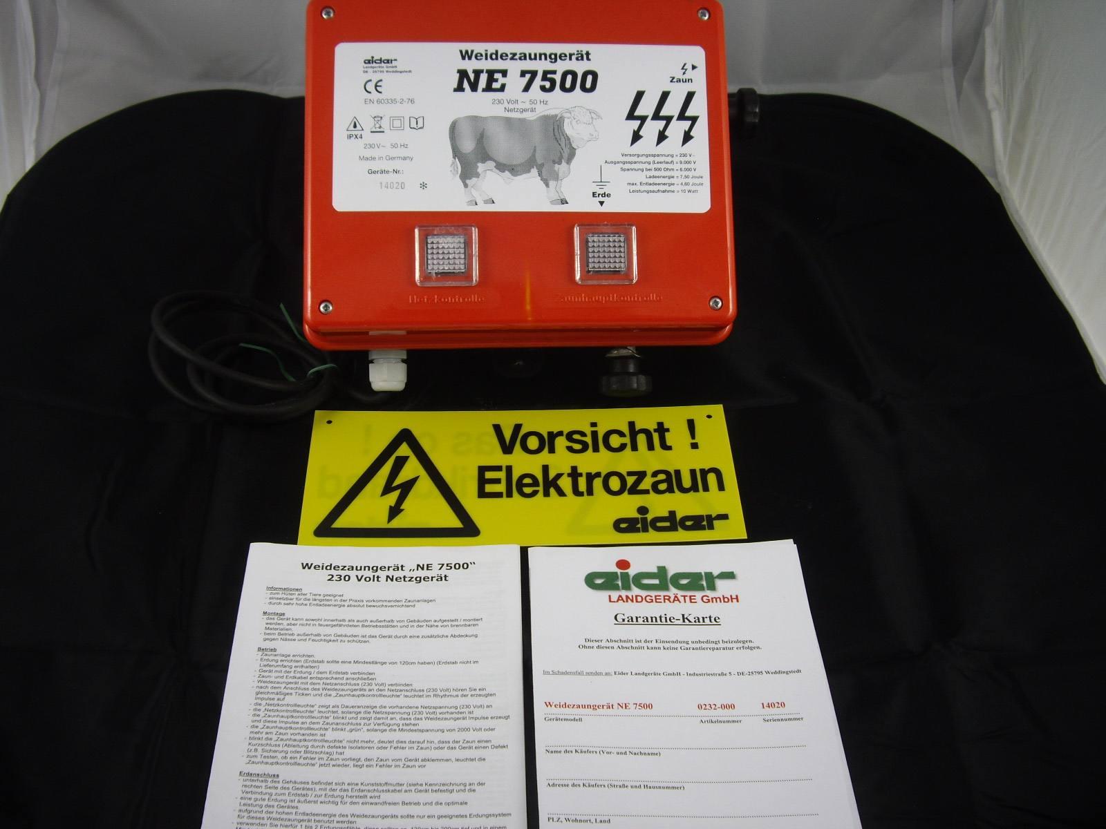 EIDER NE 7500 Starkes Weidezaun Netzgerät Elektrozaun Wildabwehr Viehhüter