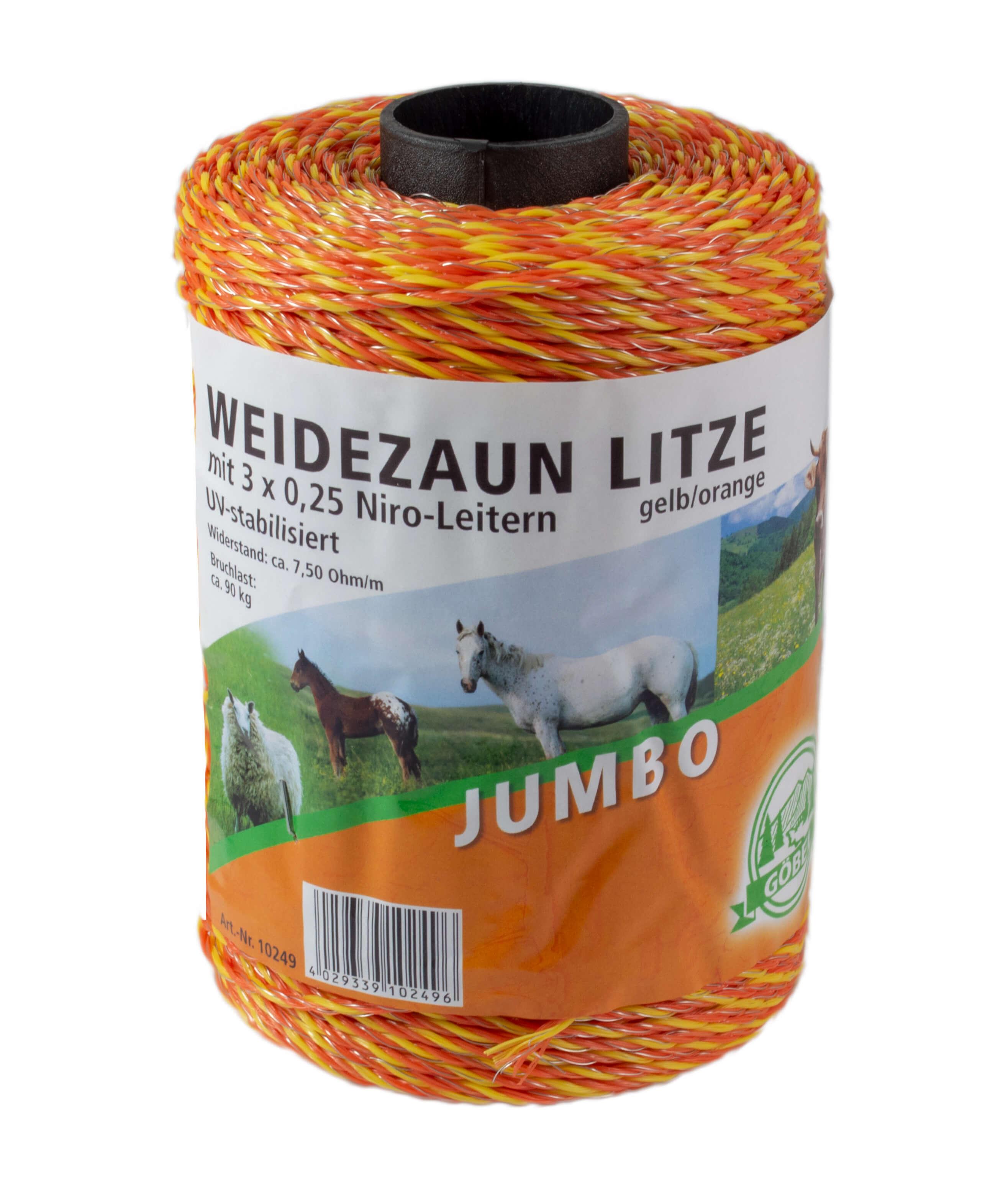 Göbel Jumbo Weidezaunlitze orange 250m Litze gelb