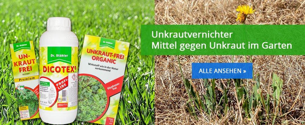 Unkraut-frei, Moos-frei, mit selektiven und nicht selektiven Herbiziden
