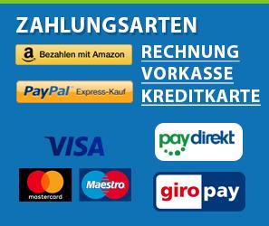 Bezahlen Sie mit Amazon, Paypal, Rechnung, Vorkasse oder Kreditkarte