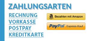 Bezahlen Sie mit Amazon, Paypal, Postpay, Rechnung, Vorkasse oder Kreditkarte